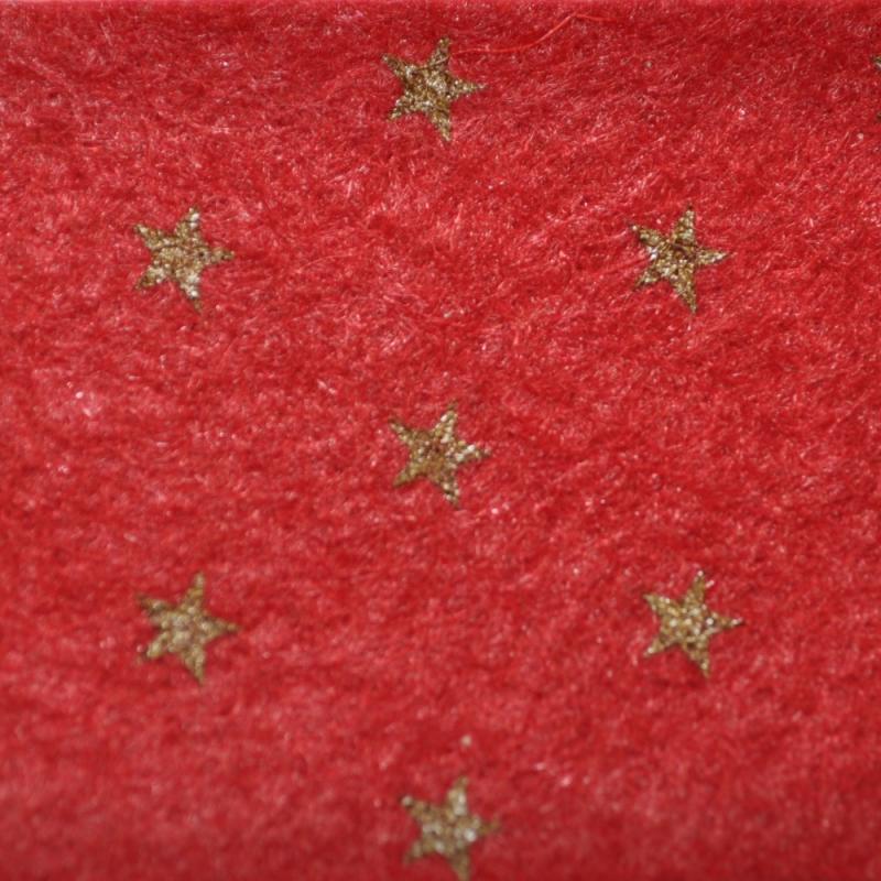 Casa De Muñecas Rojo Granate Alfombra de escalera con estrellas de oro 60cms X 5cm Forro Adhesivo
